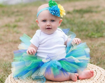 Baby tutu and flower headband set, green yellow turquoise tutu, baby tutu, tutu photo prop, tutu dress, tutu skirt, tutu set, birthday tutu