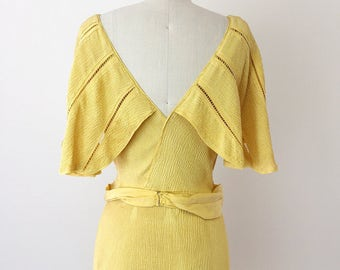 1930s Yellow Flirty Sleeve Evening Gown