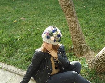 FLOWER HAT women beanie beret hand crocheted women hat