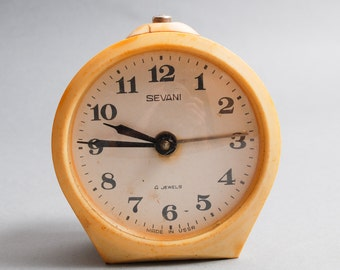 Vintage metal mechanical alarm clock Sevani from Soviet Russia