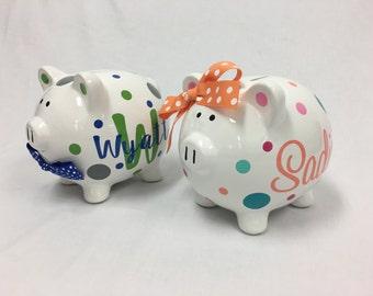 Personalized Piggy Bank: ceramic piggy bank, monogram, name, flowergirl or ringbearer gift, flowers or polka dots, wedding