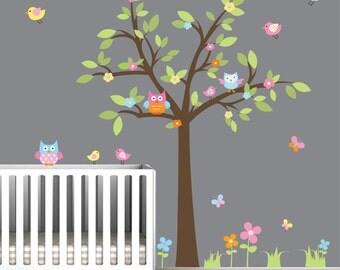 Wall Decal Vinyl Decals Tree with Owl Birds-Nursery Wall Vinyl Sticker