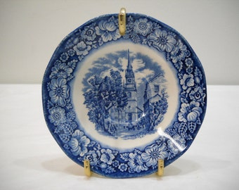 Vintage Liberty Blue Small Teacup Plate On Gold Stand Old North Church FREE SHIPPING