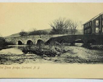 Cortland N.Y. Old Stone Bridge Postcard, Antique Upstate New York Ephemera c1910s, FREE SHIPPING