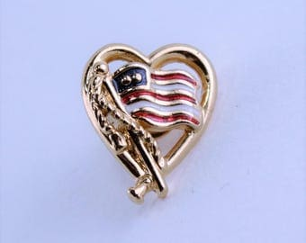 Vintage 1994 Signed Avon Forever America Gold Tone Red White Blue Enamel USA Flag in a Heart Patriotic Scatter Pin Brooch Tie Tac Tack