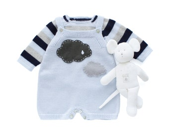 Knitted baby overalls in soft blue with clouds and striped sweater. 100% merino wool. READY TO SHIP size 1-3 months.