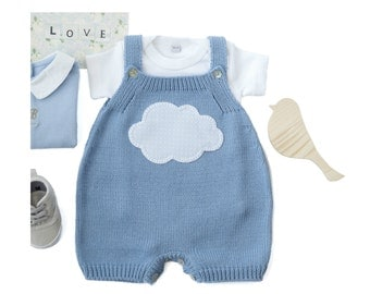 Knitted overalls in sky blue with a cloud. 100% cotton. READY TO SHIP size Newborn
