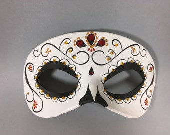 Day of the Dead Swirl Crystal Leather Mask, Unisex