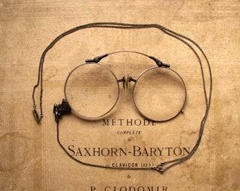Vintage Pince Nez Folding Reading Glasses on Chain - Victorian Eyewear