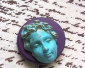 Art deco face flexible silicone mold/ fondant/ cake decoration