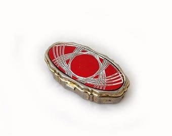 ON SALE Vintage mid century atomic pattern metal pill box, atomic ring box