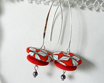 Red graphic fabric earrings