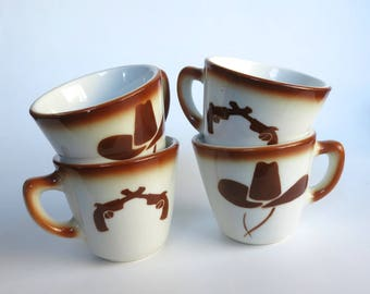 Jackson China Cowboy Cups Set of 4 Vintage Airbrushed Western Guns and Hats Coffee Cups