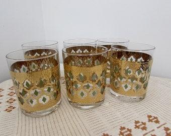 Mid Century Modern Barware Culver Pisa Glasses 22 carat gold Set of Six