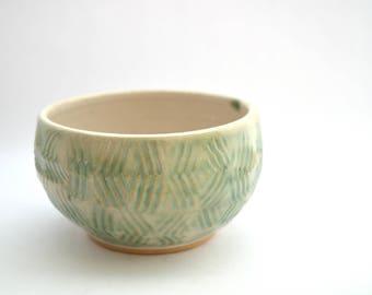 Ceramic bowl, Single serving bowl, Handmade bowl, Pottery, Ceramic Bowl, Kitchen bowl, Green, White, Ice cream bowl