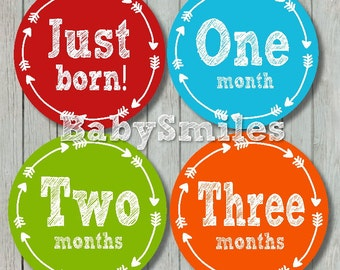 FREEGIFT Monthly Baby Stickers Baby Month Stickers Baby Photo Stickers Monthly Milestone Stickers Tribal Arrows Month Stickers Arrow Sticker
