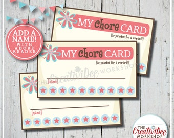 Chore Punch Cards | Punch Cards for Chores | Editable Name | Chore Tracker | Pink | Children's Cards | Punch Cards | Instant Download