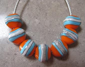 Lampwork Glass Beads. Orange and Blue Glass Diamonds. Silver Ivory Stripe.  Handmade Glass Beads. Australian Artisan Beads. Kiln Fired Beads