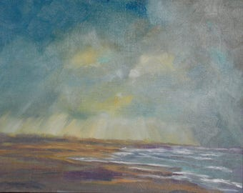 Beach Painting - Original Oil - Seascape - Clouds and Waves - Stormy sky lake - Painting of rain - Ocean