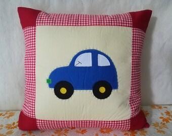 Car Quilt cushion cover - Applique Patchwork Pillow Cover  - Kid Decorative Pillow Cover - Boy Pillow Throw - Cotton Pillow Slip