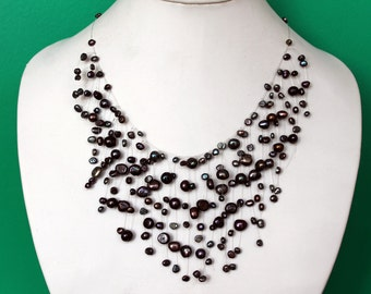 Beautiful Black Freshwater Pearl Illusion Necklace, Bridal Floating Necklace