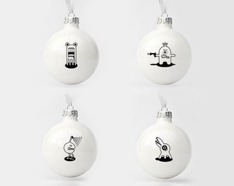 Set of Four Christmas Baubles with Funny Monsters, Christmas Tree Ornaments