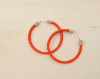 Circlet Hoop Earrings in Tomato Red