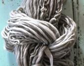 Yarn, Handspun, Super Bulky, Thick n Thin, Grey, Plain, Neutral, Hand Dyed, Wool, Knitting, Crochet Supplies, Yospun