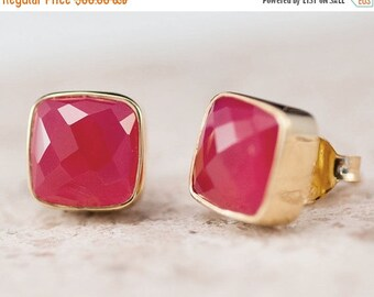40 OFF - Fuchsia Pink Chalcedony Stud Earrings - Gemstone Studs - Cushion Cut Studs - Gold Stud Earrings - Post Earrings
