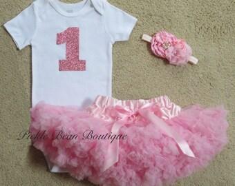 1st Birthday Girl Outfit, Girls First Birthday Outfits, Baby Girl 1st Birthday Outfit, Pink Sparkle Shirt, Pink Pettiskirt, Glitter Birthday