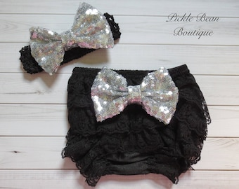 Black Silver Lace Diaper Covers - Baby Bloomers - Sequin Bow Headband - Girls Lace Bloomers - 1st Birthday Bloomers - Toddler Newborn