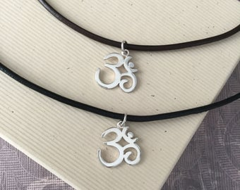 Mens Jewelry - Sterling silver om charm necklace on leather cord, minimalist jewelry, simple jewelry MS104