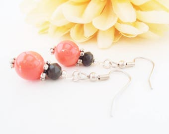 Coral Pink Earrings, Coral Bridesmaid Earrings, Flower Girl Jewelry, Gift for Her, Coral Gray Crystal Bridal Earrings, Simple Drop Earrings