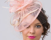 "Pink Fascinator - ""Noor"" Light Pink & Ivory Fascinator Hat Headband w/Ribbon waves a Ivory birdcage veil"