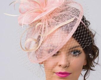 "Pink Fascinator - ""Noor"" Light Pink & Ivory Fascinator Hat Headband w/Ribbon waves a Ivory birdcage veil"