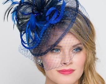 "Royal Blue Fascinator - ""Noor"" Royal Blue & Navy Fascinator Hat Headband w/Ribbon waves a blue birdcage veil"