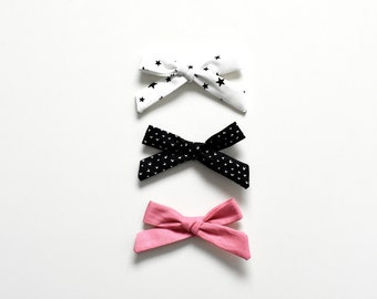 Bow Set - Nylon Baby Headbands - Pack of Three Bows - School Girl Bows - Hand Tied Bows