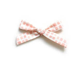 Hand Tied Bow - Baby Headband - School Girl Bow - Pink Hair Bow
