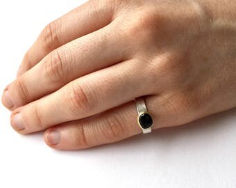 Green Tourmaline and silver pinkie ring - October Birth Stone - Silver and Gold ring - size J ring - alternative wedding ring