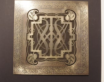 brass vent cover with Celtic theme