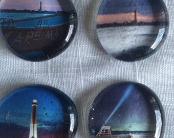 Set of 4 Cape May, New Jersey Art Glass Magnets - twilight, night kitchen home office bar travel gift stocking stuffer