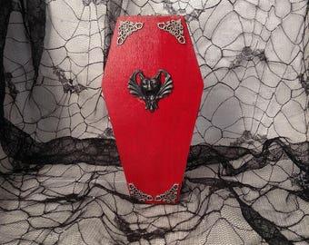 Red Vampire Gargoyle Goth Wood Coffin