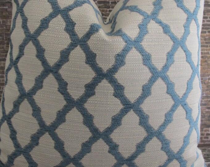 3BM Designer Pillow Cover Lumbar, 16 x 16, 18 x 18, 20 x 20, 22 x 22, Euro -  Bowey Tex Lattice - Aqua