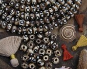 Neutral Dotted Bone Beads : Large Hole, Tan, White & Black, 9x6mm, Natural Tribal Bohemian Yoga Mala Jewelry Making Supplies, Boho, 30 pcs