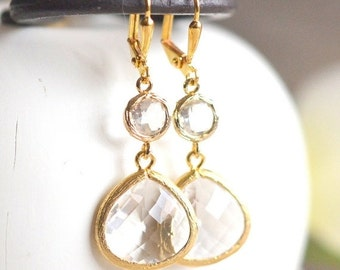 Gold Bridal Earrings with Clear Crystals.  Drop Bridesmaids Earrings. Dangle Earrings.  Bridal Jewelry. Modern Earrings. Wedding. Gift.
