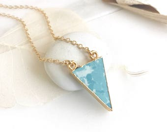 Triangle Pendant Necklace in Turquoise. Turquoise Arrow and Gold Stone Geometric Necklace. Jewerly Gift. Simple Jewelry. Gift for Her.