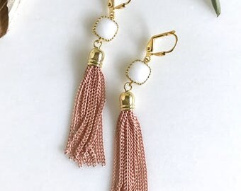 Pink and White Tassel Earrings.  Drop. Dangle. Pink Tassel Jewelry. Turquoise Jewelry. Jewelry Gift.  Dangle Earrings. Modern. Gift.