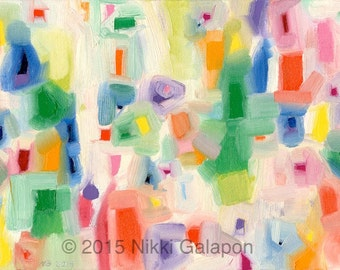 """colorful abstract expressionist oil painting on canvas panel 8""""x16"""" red orange yellow green blue purple"""