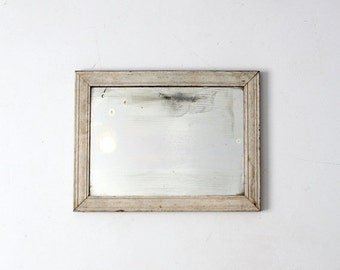SALE antique mirror, painted white frame wall mirror