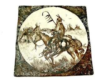 Large Native American Ceramic Tile - Hand Painted Signed Vintage Interceramic - Wall Art - Horse and Rider